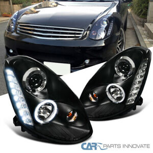 Fit 05 06 Infiniti G35 4dr Sedan Black Smd Led Halo Projector Headlights Lamps