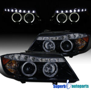 2006 2008 Bmw E90 4d Halo Projector Headlights R8 Led Strip Glossy Black
