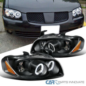 For Nissan 04 06 Sentra Black Led Halo Projector Headlights Head Lights Lamps