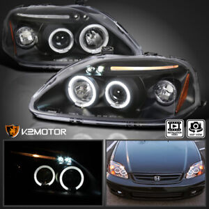 For 1999 2000 Honda Civic Replacement Led Halo Black Projector Headlights Pair