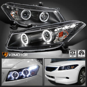 For 2008 2012 Honda Accord 2dr Coupe Black Led Halo Projector Headlights 08 12