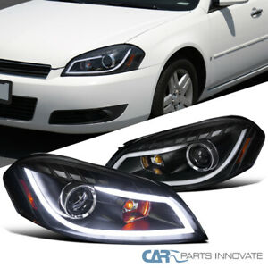 06 13 Impala 06 07 Monte Carlo Black Led Strip Bar Projector Headlights Pair