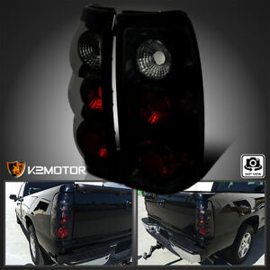 For 1999 2002 Chevy Silverado Gmc Sierra Black Smoke Tail Lights Brake Lamps