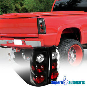 For 2003 2006 Chevy Silverado 1500 2500 Tail Lamps Brake Lights Black