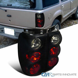 Glossy Black 95 97 Explorer Dark Smoke Parking Tail Lights Rear Brake Lamps Pair