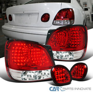 For 98 05 Lexus Gs300 400 430 Rear Red Clear Led Tail Lights Trunk Lamps 4pc