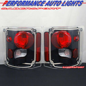 Set Of Pair Black Taillights For 1973 1987 Gmc Chevy C K C10 Full Size Truck