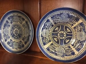 Two Antique Chinese Export Fitzhugh Porcelain Blue White Dishs