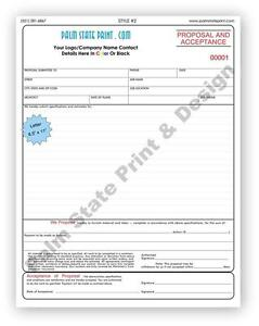 Proposal And Acceptance Contractor Forms Carbonless Copy Book 3 Part Sets 8 5x11