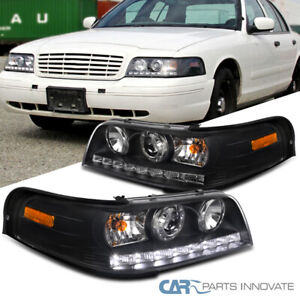 1998 2011 Ford Crown Victoria Black Smd Led Drl Strip Projector Headlights