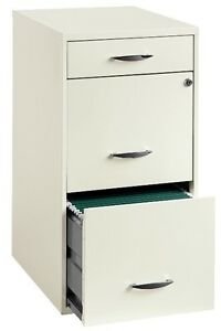 3 Drawer File Cabinet White Filing Cabinets Home Office Furniture Steel Locks