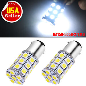 2x Xenon White Ba15d 5050 27smd Tail Brake Stop Led Light Bulb 1076 6000k