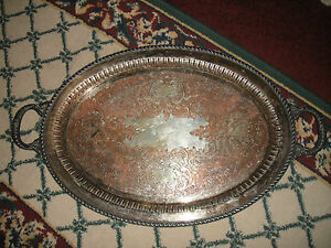 Antique Gotham Silver On Copper Large Serving Tray Platter W Handles 742p Etched
