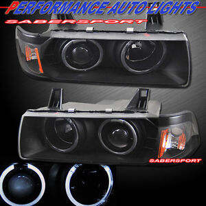 Set Black Halo Projector Headlights For 92 98 Bmw E36 3 series Coupe Convertible