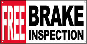 Free Brake Inspection Vinyl Banner Auto Repair Shop Sign 20x48 Inch