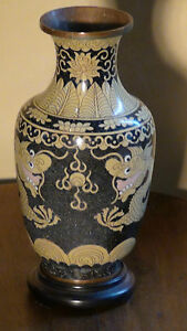 Antique 17c 18c Chinese Old Cloisonne Enamel Vase Two Dragons And Pearl 1