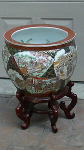 Antique 19c Huge Chinese Fishbowl Planter With Rosewood Stand Marked To Bottom