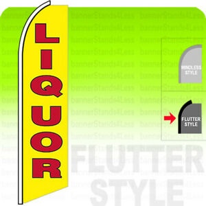 Liquor Swooper Flag Feather Banner Sign 11 5 Tall Flutter Style Yb