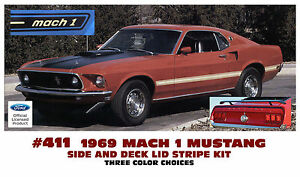 411 1969 Ford Mustang Mach 1 Side And Trunk Stripe Decal Kit Ford Licensed