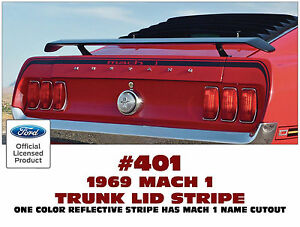 Sp 401 1969 Mustang Mach 1 Trunk Lid And Extension Stripes 3 Piece Decal Kit