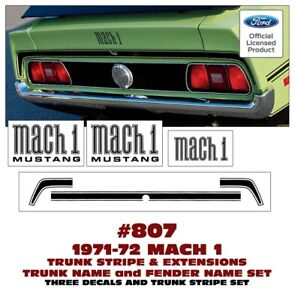 807 1971 72 Mustang Trunk Stripe With Mach 1 Fender Names And Trunk Name