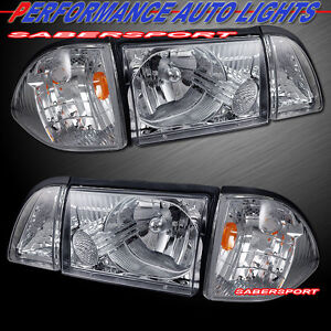 Set Of Euro Clear Headlights W Corner And Parking Lights For 1987 1993 Mustang