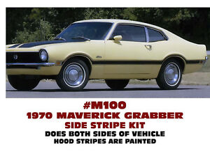 M100 1970 Ford Maverick Grabber Side Stripe One Color Factory Reproduction