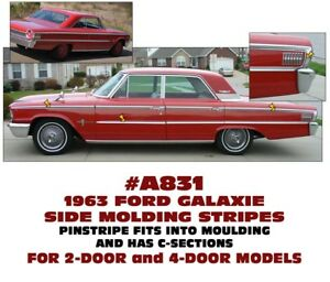 A831 1963 Ford Galaxie Side Molding Pinstripe And C Stripe Section