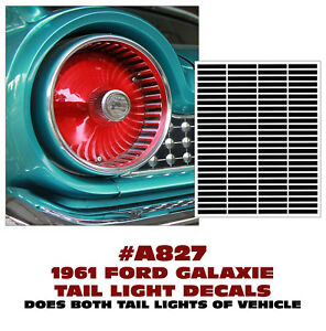 A827 1961 Ford Galaxie Tail Light Decal Sticker Kit