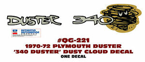 Qg 221 1970 1972 Plymouth Duster Duster 340 Cloud Tail Panel Decal One