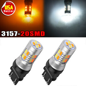 2x 3157 5730 20 Led Switchback Dual Color White Ambertrailer Light Bulbs 12v
