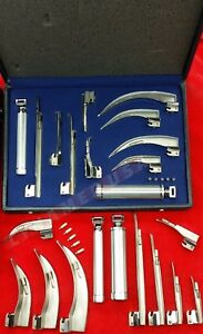 German New Laryngoscope Mac miller Set Of 10 Blades 2 Handles Emt Anesthesia