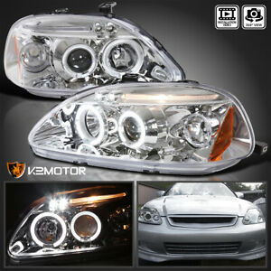 For 1996 1998 Honda Civic Clear Led Halo Projector Headlights Lamps 96 98 L R