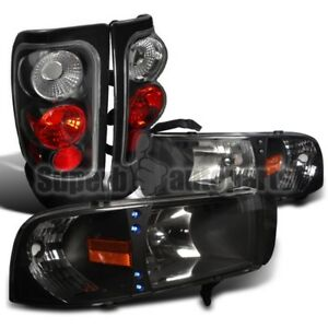 1994 2001 Dodge Ram 1500 Pick Up 2500 3500 Led Headlights Tail Brake Lamps Black