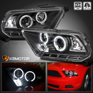 Fits 2010 2014 Ford Mustang Black Led Halo Projector Headlights Lamps Left right