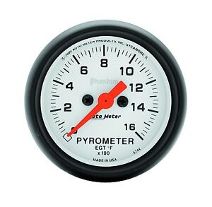 Auto Meter Phantom Electric Pyrometer Egt Gauge Kit 2 1 16 52mm 0 1600 Deg F