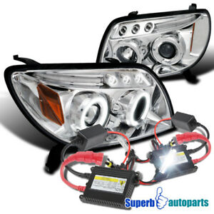 Fit 03 05 Toyota 4runner Halo Led Projector Headlights Chrome H1 Slim Hid Kit