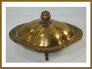 Vintage Silver On Copper 3 Footed Decorative Covered Casserole Dish