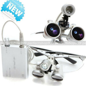 Dental Surgical Medical Binocular Loupes 3 5x 420mm led Head Light Lamp Silver