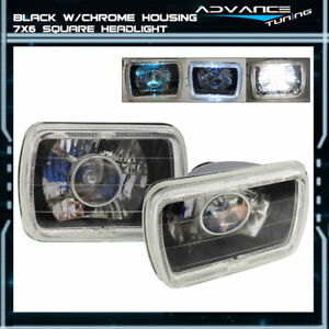 Universal 7x6 Square Projector White Halo Front Headlight Driving Lamp H4 Bulb