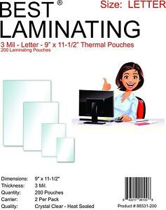 Best Laminating Clear 3 Mil Letter 200 Thermal Pouches 9 X 11 5 Scotch Quality