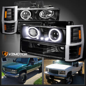94 98 Chevy C10 Ck Tahoe Halo Led Projector Headlights corner bumper Lamps Black