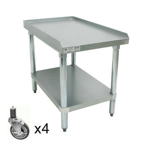 Ace Stainless Steel Equipment Stand W 4 Casters 24 wx24 lx27 1 2 h Es s2424
