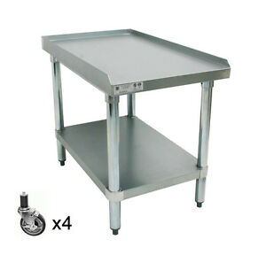 Ace Stainless Steel Equipment Stand W 4 Casters 24 wx18 1 2 lx27 h Es s2418