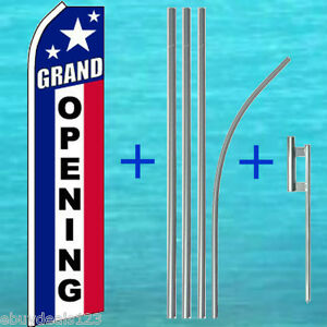 Grand Opening Flutter Flag 15 Pole Mount Kit Feather Swooper Banner Sign 1126