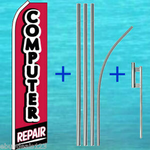 Computer Repair Red blk Flutter Flag 15 Pole Kit Feather Swooper Banner Sign