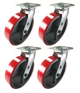 8 X 2 Red Polyurethane On Cast Iron Casters 4 Swivels