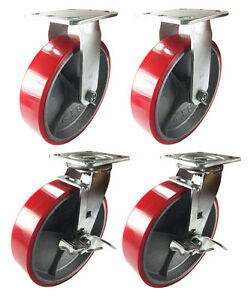 8 X 2 Red Polyurethane On Cast Iron Casters 2 Rigid And 2 Swivel With Brake
