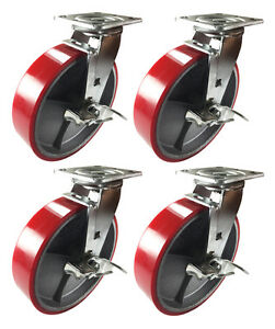 8 X 2 Red Polyurethane On Cast Iron Casters 4 Swivels With Brake