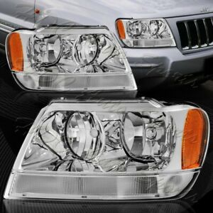 For 1999 2004 Jeep Grand Cherokee Chrome Clear Lens Amber Reflector Headlights